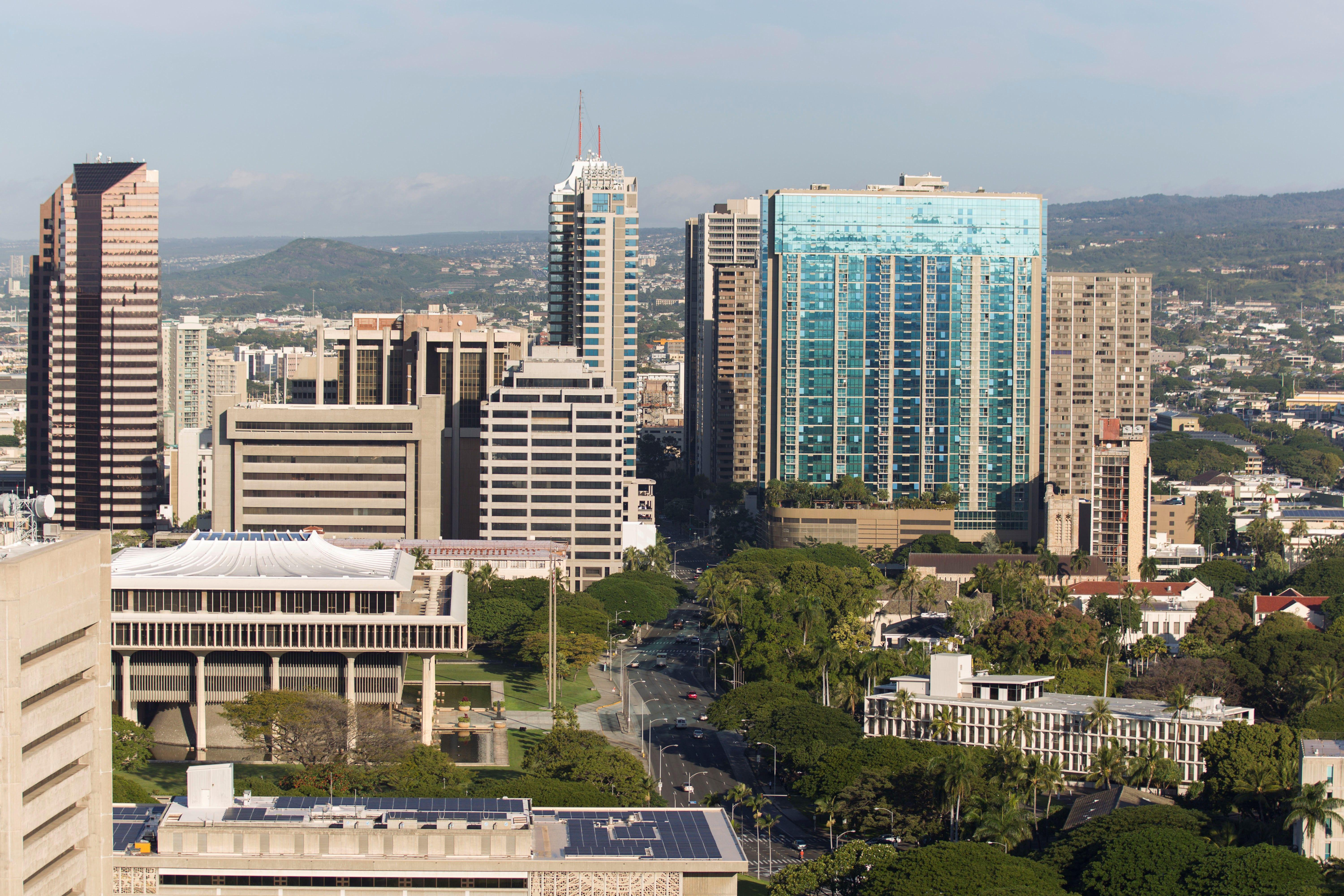 A morning view of the city of Honolulu, Hawaii is seen on January 13, 2018.