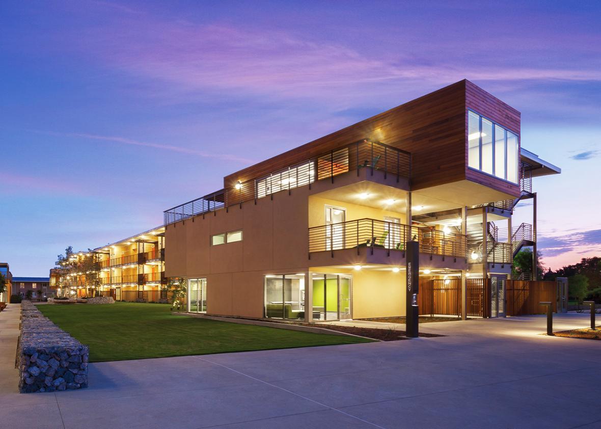 Pitzer College East residence halls at dusk.