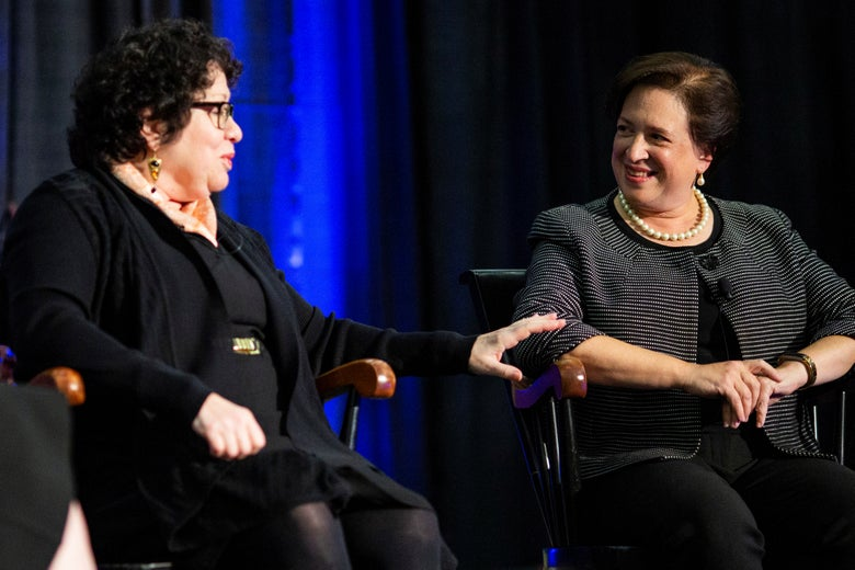 "Sonia Sotomayor and Elena Kagan, associate justices of the Supreme Court, speak during Princeton University's ""She Roars: Celebrating Women at Princeton"" conference in Princeton, New Jersey on October 5, 2018."