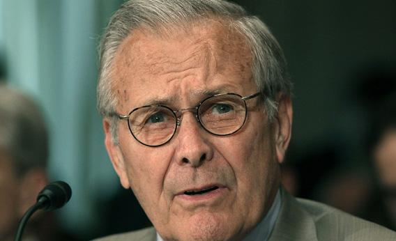 Former Defense Secretary Donald Rumsfeld testifies during a Senate Foreign Relations hearing.