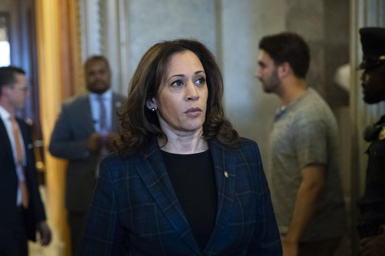 WASHINGTON, DC - OCTOBER 6: Sen. Kamala Harris (D-CA) exits the Senate floor following the Senate's confirmation of the nomination of Judge Brett Kavanaugh to the U.S. Supreme Court, October 6, 2018 in Washington, DC. Kavanaugh was confirmed in a 50-48 vote on Saturday. (Photo by Drew Angerer/Getty Images)