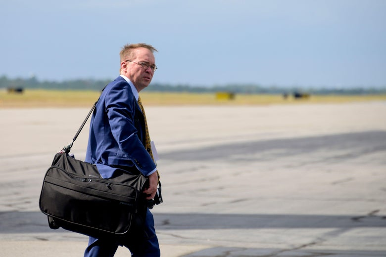 White House Acting Chief of Staff Mick Mulvaney arrives in Columbia Metropolitan Airport in Columbia, South Carolina, on October 25, 2019.
