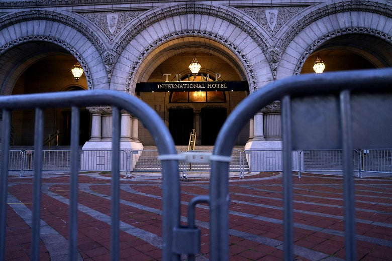 An entrance of the Trump International Hotel is blocked in the morning hours of Nov. 4, 2020 in Washington, D.C.