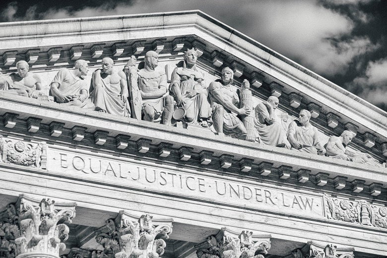 The top front of the Supreme Court building.