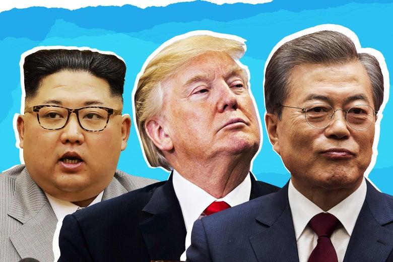 Kim Jong Un, Donald Trump, and Moon Jae-in.