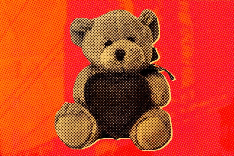 A drugstore teddy bear holding a heart.