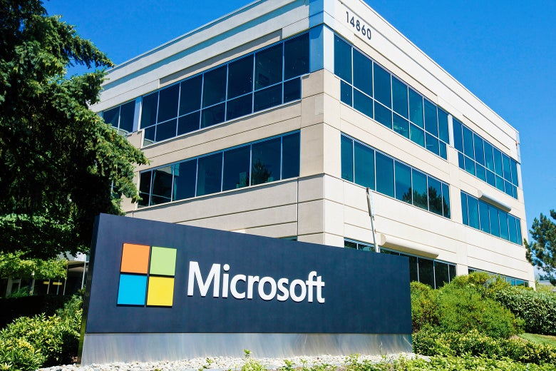 A building on the Microsoft headquarters campus is pictured on July 17, 2014, in Redmond, Washington.