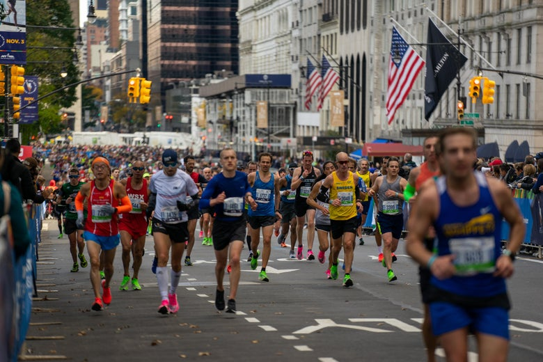 Runners on a street in New York City during the race.