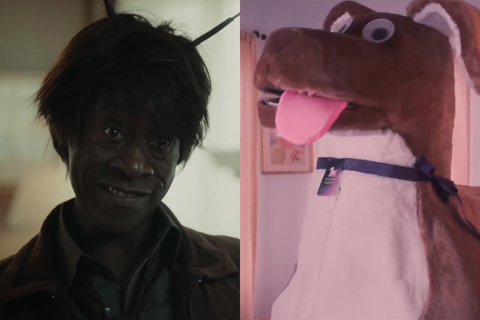 The left half is an image of Don Cheadle dressed as a roach; the right half is a giant puppy costume with googly eyes.