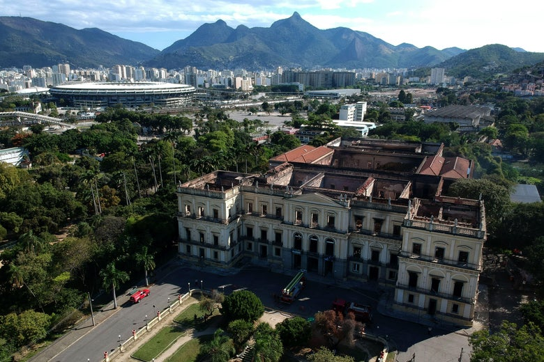Drone view of Rio de Janeiro's treasured National Museum, the roof of which is largely gone after fires ravaged the building for five hours