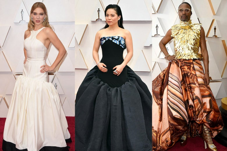 Collage of Léa Seydoux, Kelly Marie Tran, and Billy Porter wearing flowing skirts on the red carpet.