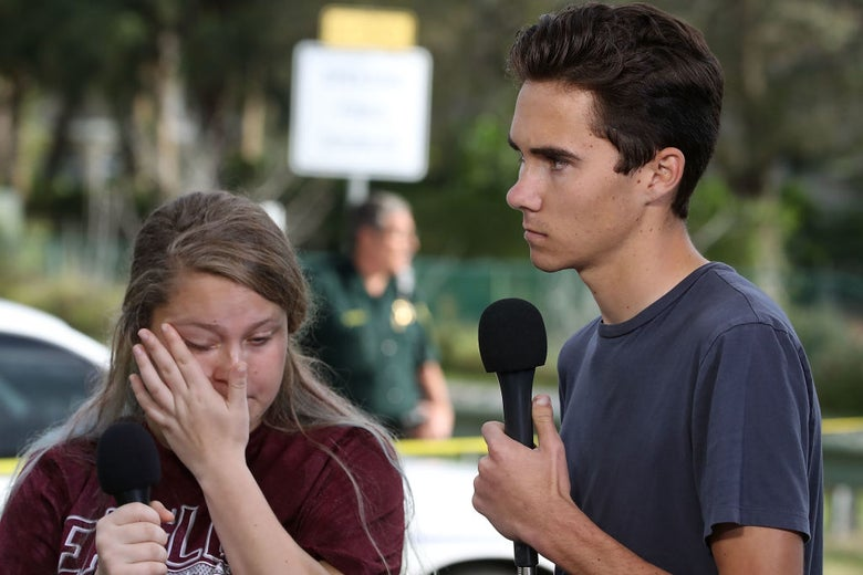 Marjory Stoneman Douglas High School students Kelsey Friend and David Hogg on Feb. 15.