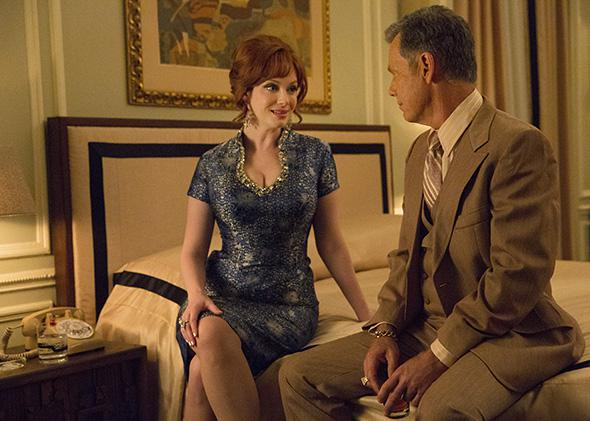 Christina Hendricks as Joan Harris and Bruce Greenwood as Richar,Christina Hendricks as Joan Harris and Bruce Greenwood as Richard Burghoff, Mad Men, Season 7B, Episode 10.