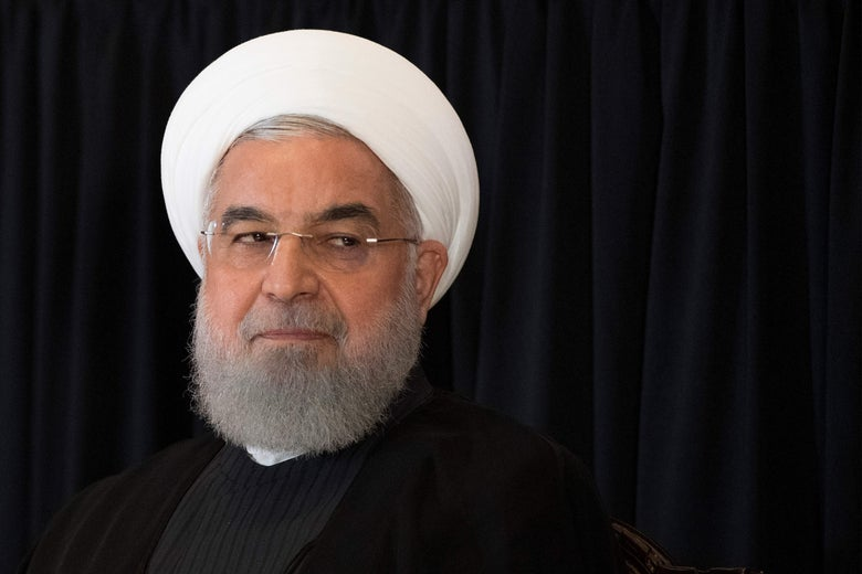 Close-up of Hassan Rouhani looking to the side