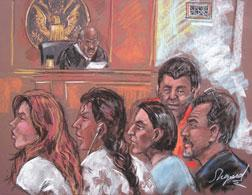 Five of the 10 arrested Russian spy suspects in a New York courtroom. Click image to expand.