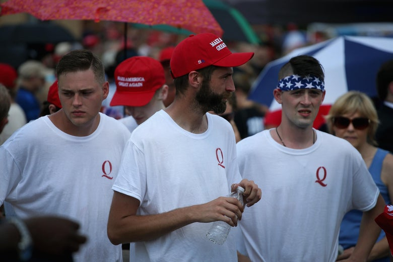 Guests attend a rally where President Donald Trump was speaking to show support for Ohio Republican congressional candidate Troy Balderson on August 4, 2018 in Lewis Center, Ohio.