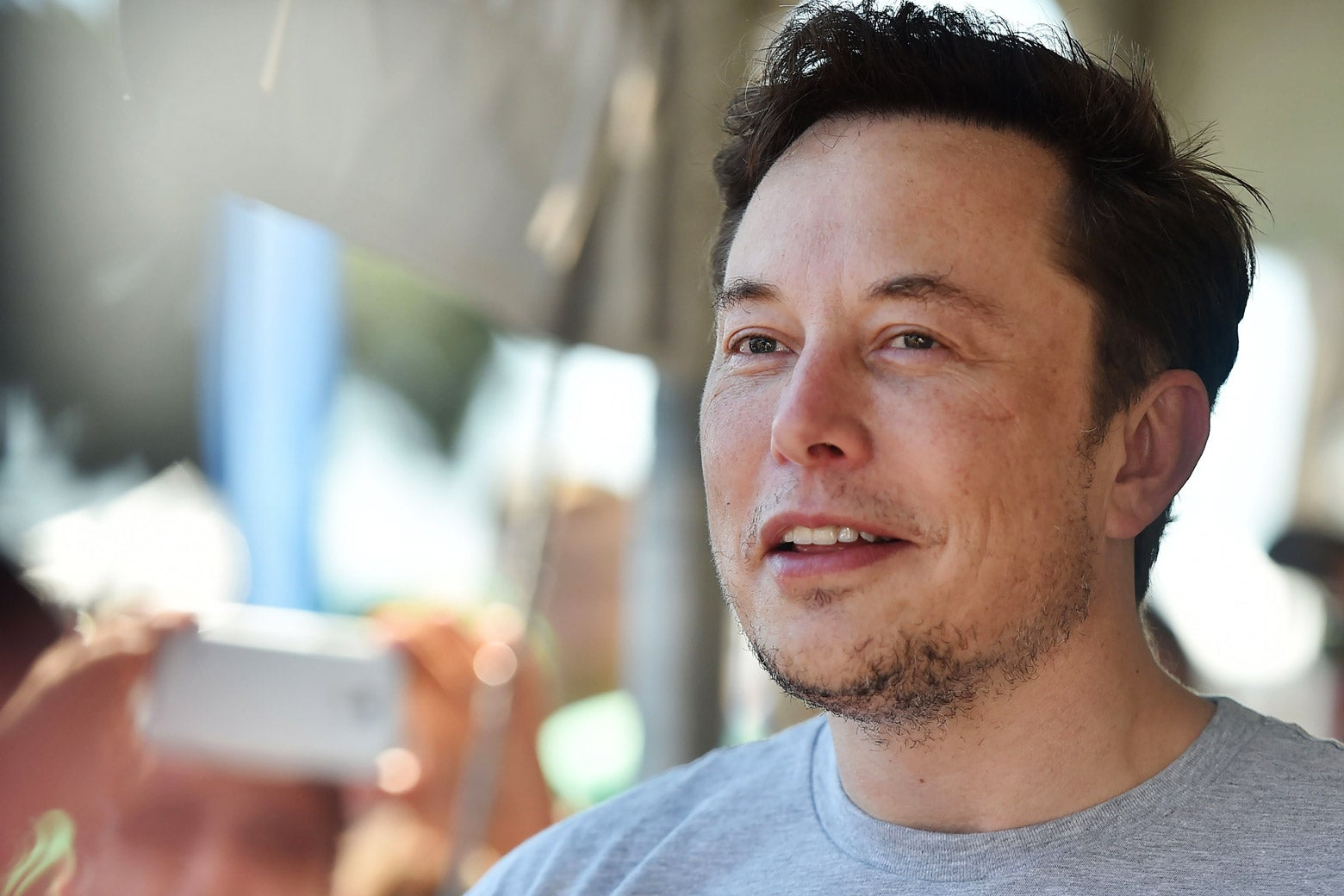 Elon Musk attends the 2018 SpaceX Hyperloop Pod Competition in Hawthorne, California, on July 22.