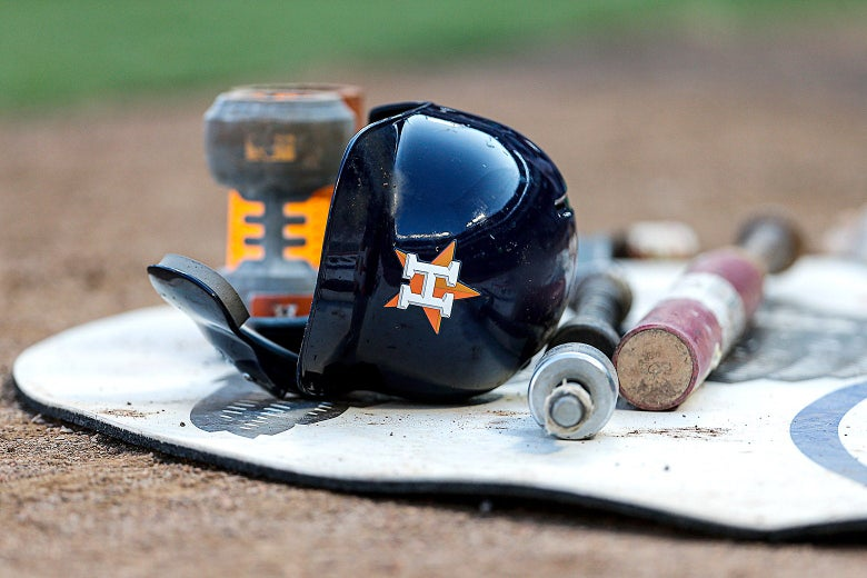 Houston Astros equipment lays on the ground at Globe Life Park on July 11.