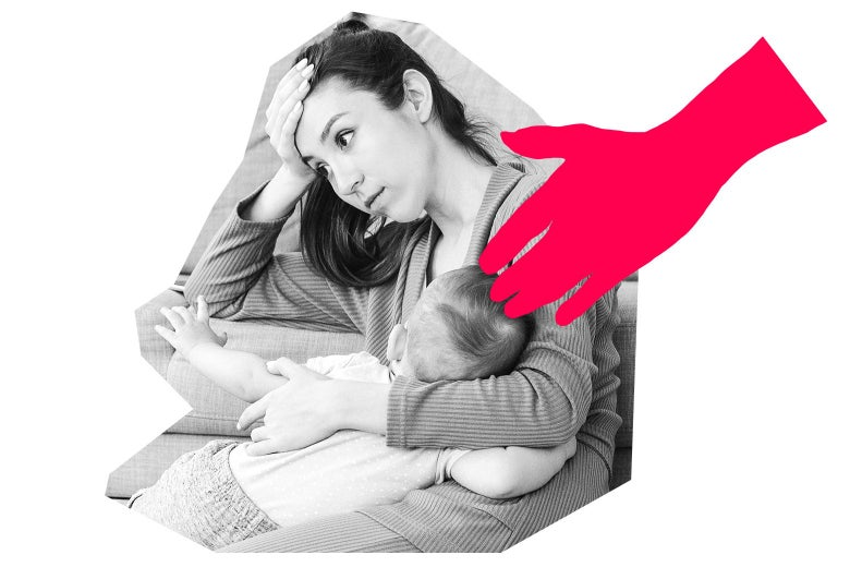 A woman holding a baby looks tired, hand to forehead. At right a graphic shows an arm reaching toward her.