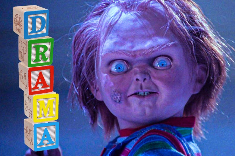 "Chucky next to a stack of alphabet blocks spelling out the word ""drama."""