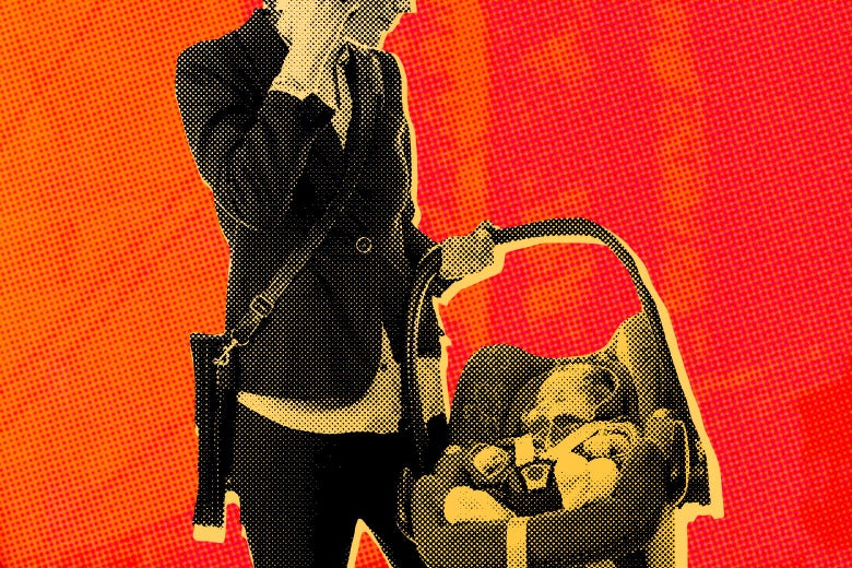 Photo illustration of a busy parent, dressed in business casual clothing, carrying a child while talking on a cellphone.
