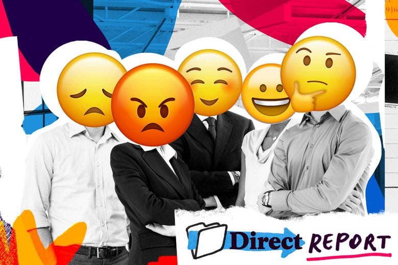 A bunch of employees with varying emoji for faces