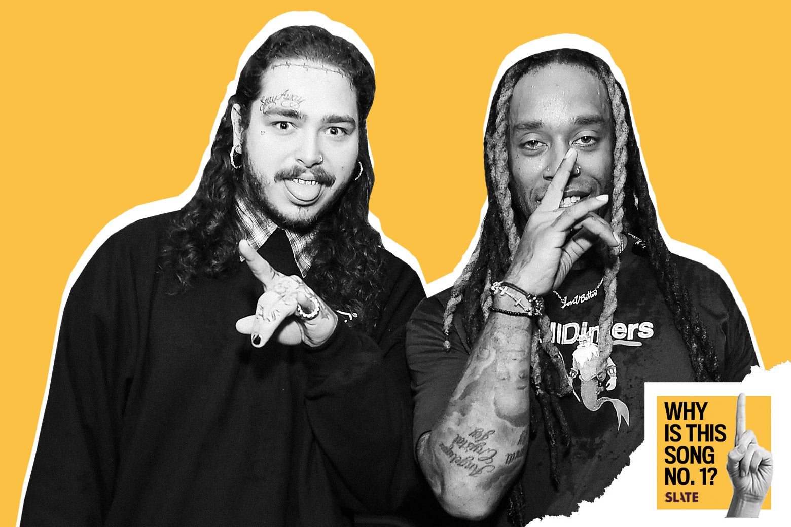 Post Malone and Ty Dolla Sign with the Why Is This Song No. 1? logo.
