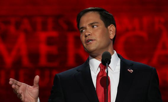 U.S. Senator Marco Rubio (FL) speaks during the final day of the Republican National Convention.