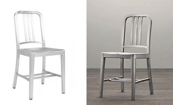 "The Emeco 1006 Navy Chair and Restoration Hardware's ""Naval Chair."""
