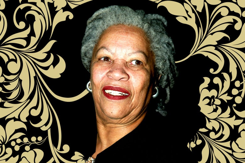 Photo illustration of Toni Morrison surrounded by a stylized border