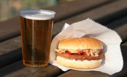A burger and beer.
