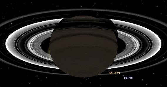 Illustration of Cassini's view of Saturn during the planned observations.