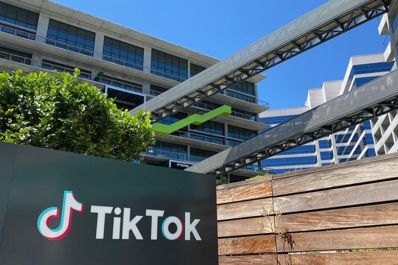 The logo of Chinese video app TikTok is seen on the side of the company's new office space at the C3 campus on August 11, 2020 in Culver City, in the westside of Los Angeles.