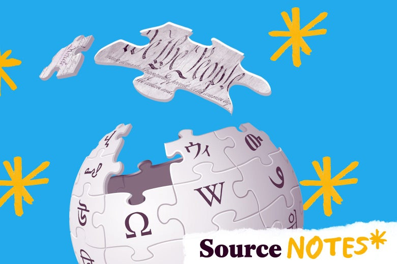 "The Wikipedia globe puzzle logo, with one piece that reads ""We the People"" floating above."