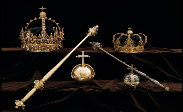 The jewels at Strängnäs: two gold scepters, two crowns, and two gold orbs.
