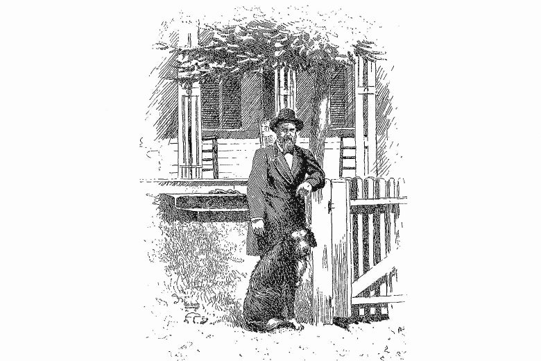 A 19th-century engraving of James Garfield and his dog, standing in front of their house in Ohio.