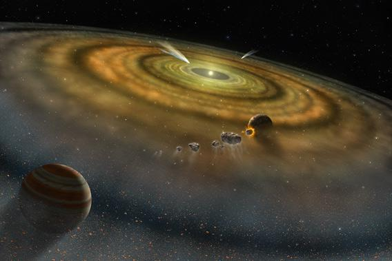 Artwork depicting comets around a newly forming solar system.