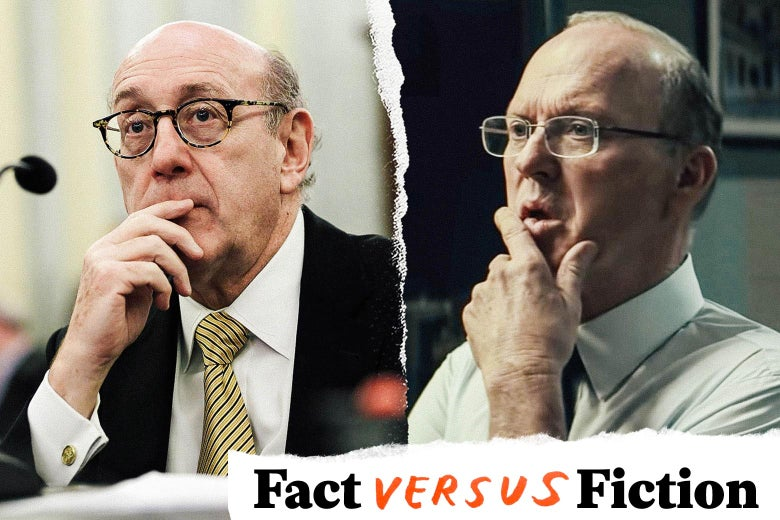 """Two bald men in dress shirts and ties hold their hands to their chins, thinking. Over it, a logo saying """"Fact vs. Fiction."""""""