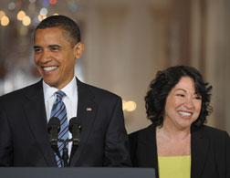 Barack Obama and Sonia Sotomayor. Click image to expand.