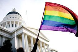 Supporters of gay marriage rally on the steps of the State Capitol November 22, 2008 in Sacramento, California.
