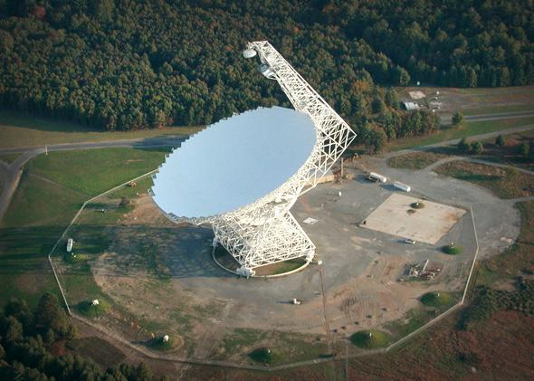 The Green Bank Telescope (GBT) is the world's largest, fully steerable radio telescope. It is located in Green Bank, W.Va., in a quiet, radio-free zone.