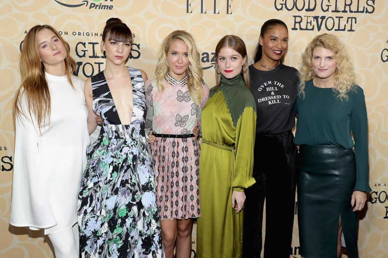 (L-R) Grace Gummer, Erin Darke, Anna Camp, Genevieve Angelson, Joy Bryant and Lynn Povich attend the 'Good Girls Revolt' New York Screening at the Joseph Urban Theater at Hearst Tower on October 18, 2016 in New York City.  (Photo by Neilson Barnard/Getty Images)