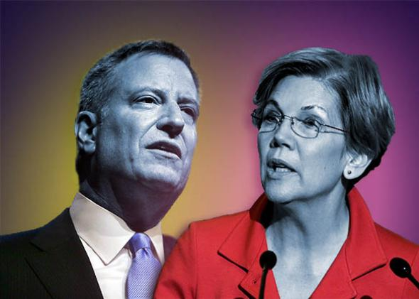New York Mayor Bill de Blasio, U.S. Sen. Elizabeth Warren.