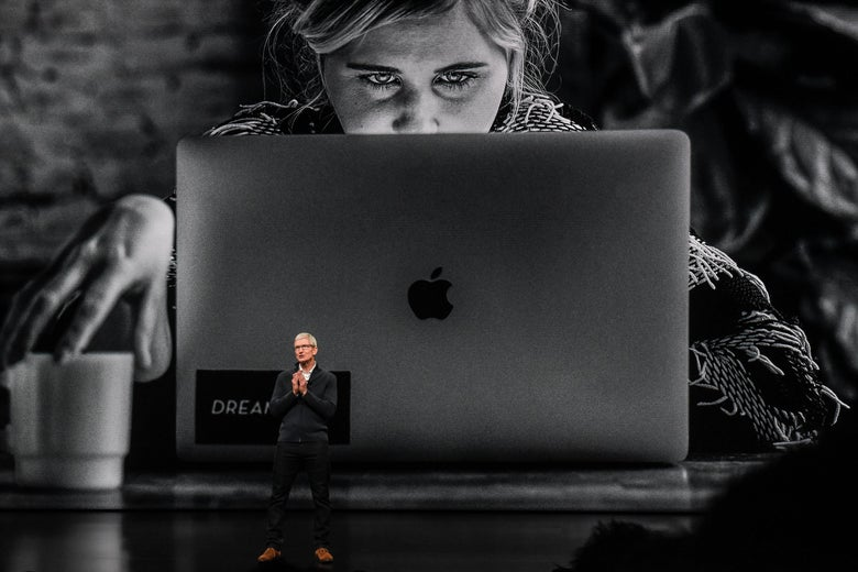 Tim Cook unveils the MacBook Air at an event in New York City.