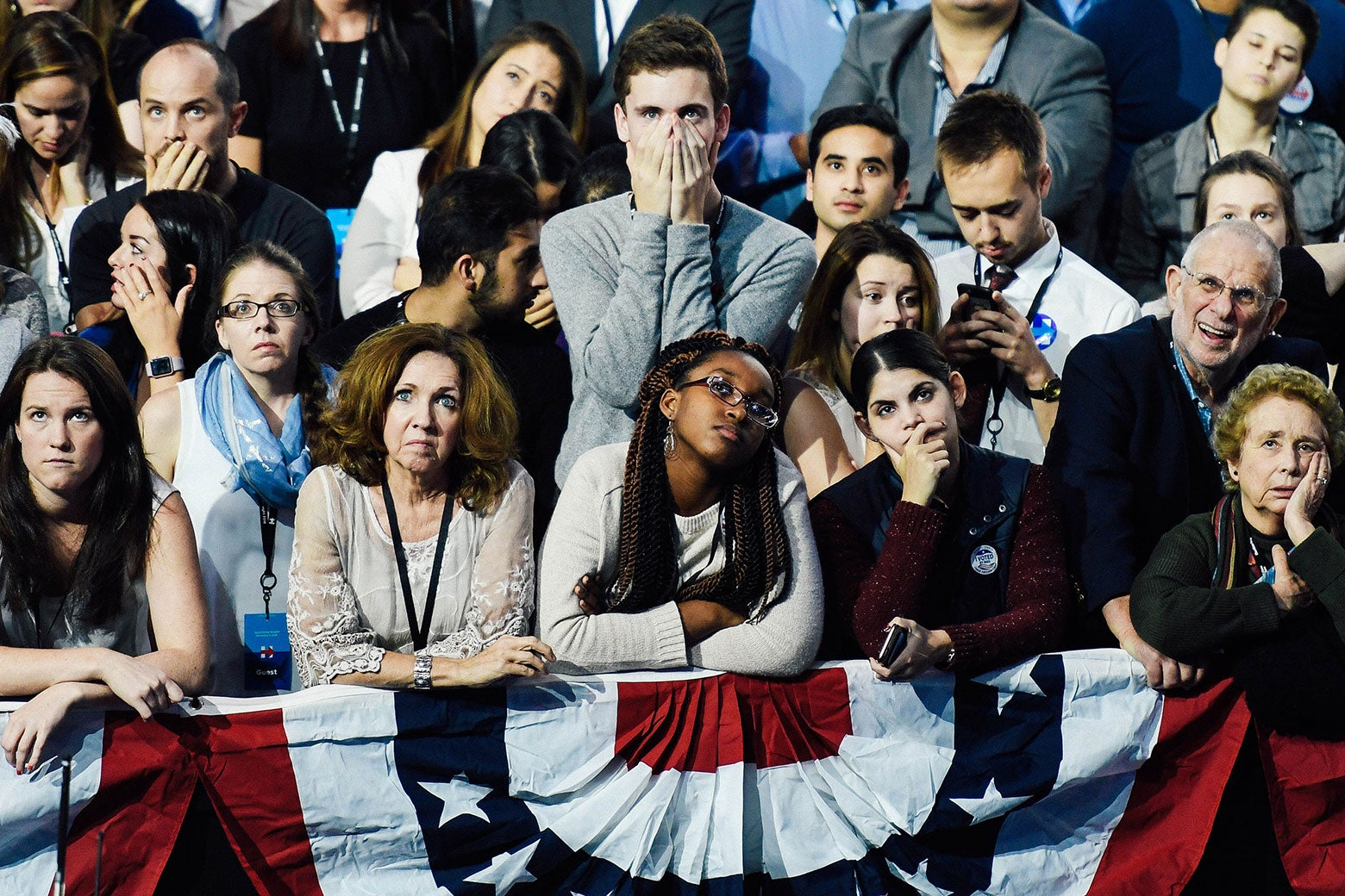 Distraught Hillary Clinton supporters.