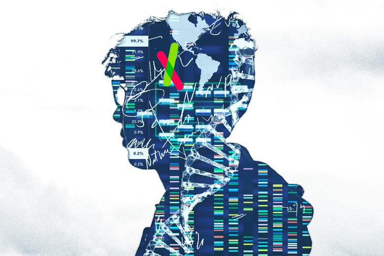 Collage of DNA and 23andMe images inside a silhouette of a man wearing glasses.