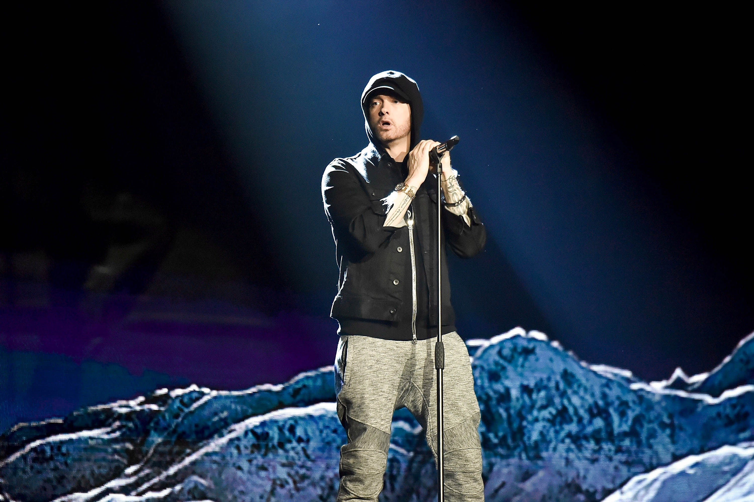Eminem performs onstage during the MTV EMAs on Nov. 12 in London.
