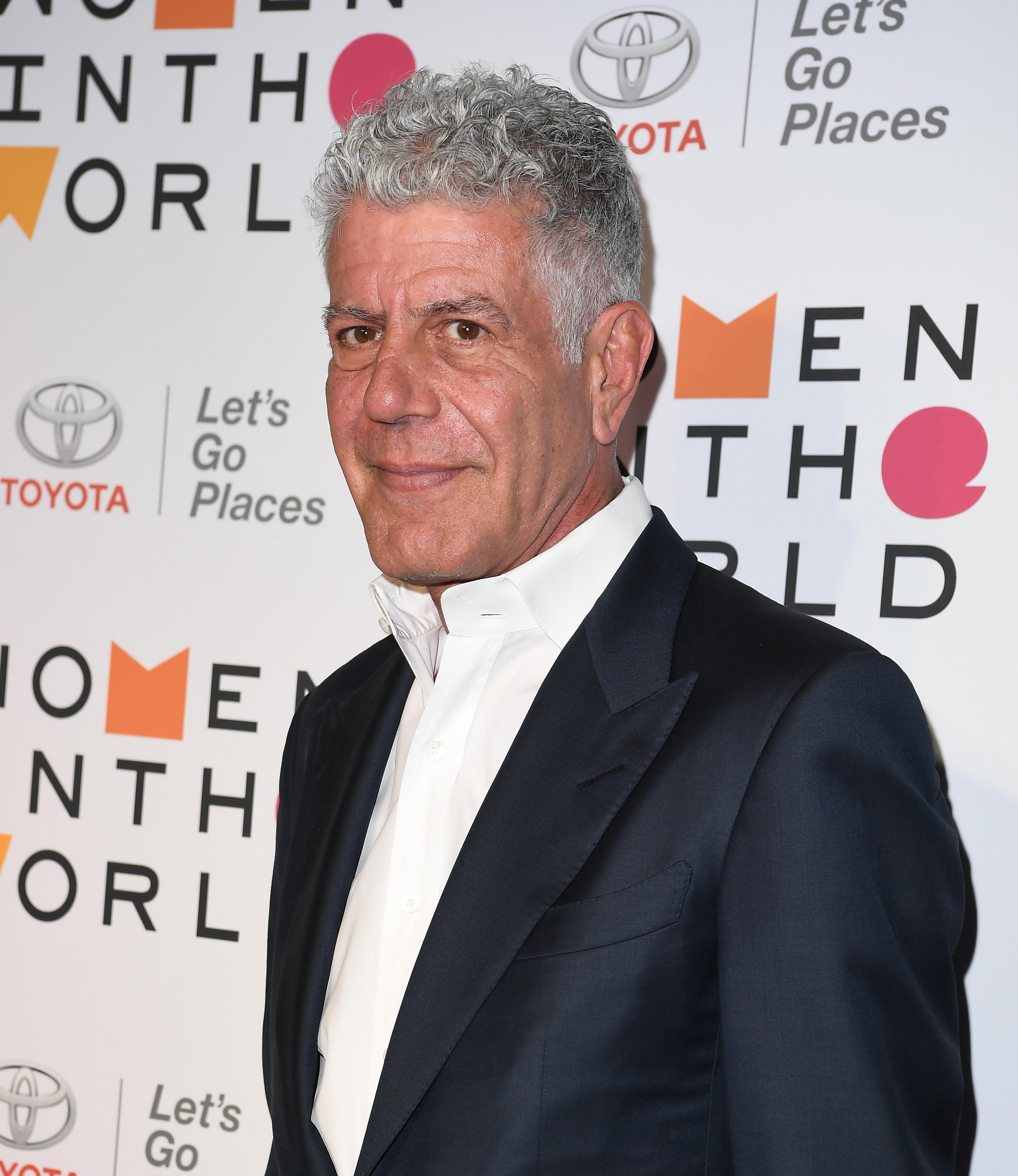 Anthony Bourdain attends the 2018 Women In The World Summit at Lincoln Center on April 12, 2018 in New York City.  / AFP PHOTO / ANGELA WEISS        (Photo credit should read ANGELA WEISS/AFP/Getty Images)