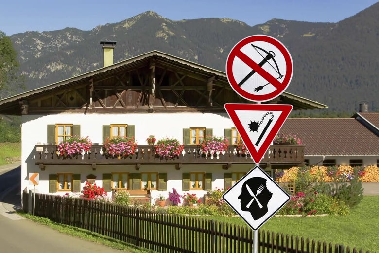 A doctored photo of a German hotel with signs promising that crossbows are banned, but cannibals and chain maces are allowed.