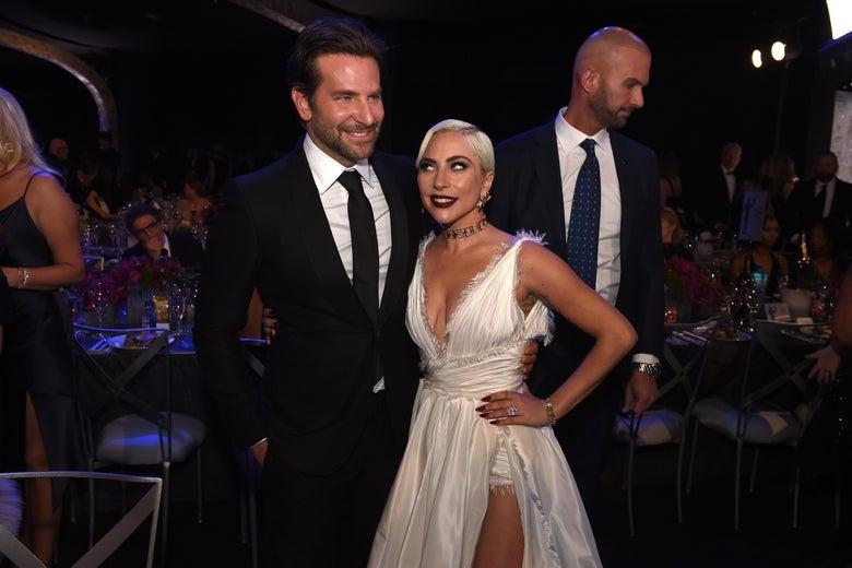 Bradley Cooper and Lady Gaga in formalwear.